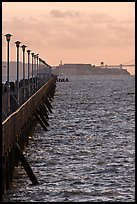 Berkeley Pier and Alcatraz at sunset. Berkeley, California, USA