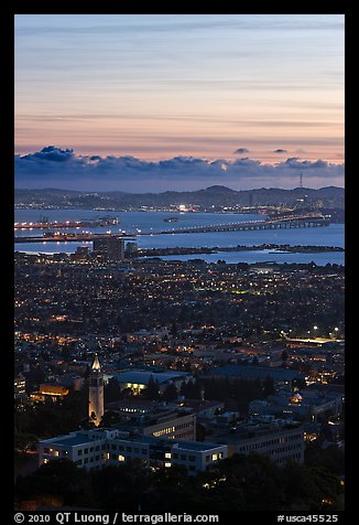 University of California and San Francisco Bay at sunset. Berkeley, California, USA (color)