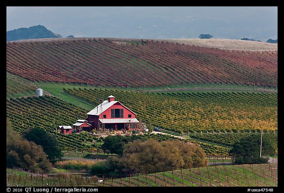Red barn and wine country landscape from above. Napa Valley, California, USA (color)