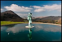 Pool, sculpture, and hills, Artesa Winery. Napa Valley, California, USA (color)