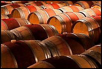 Rows of wine barrels in cellar, close-up. Napa Valley, California, USA (color)