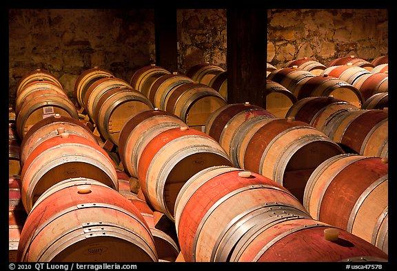 Wine Casks In Storage. Napa Valley, California, USA