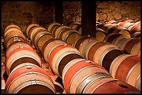 Wine casks in storage. Napa Valley, California, USA (color)