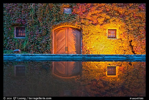 Ivy-covered facade reflected in pool at night. Napa Valley, California, USA
