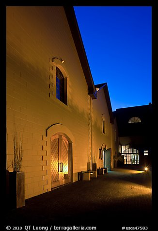 Winery at night, Hess Collection. Napa Valley, California, USA
