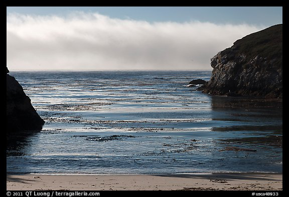 Marine layer offshore China Cove. Point Lobos State Preserve, California, USA (color)