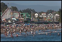 Crowded beach scene. Santa Cruz, California, USA ( color)