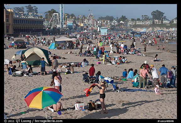 Beach scene in summer. Santa Cruz, California, USA (color)
