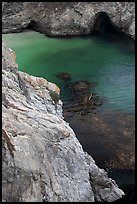Green waters of China Cove. Point Lobos State Preserve, California, USA (color)