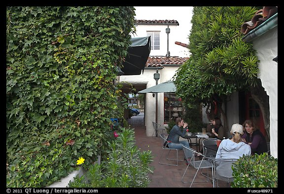Cafe terrace in alley. Carmel-by-the-Sea, California, USA