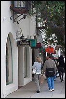 Shopping on Ocean Avenue. Carmel-by-the-Sea, California, USA (color)
