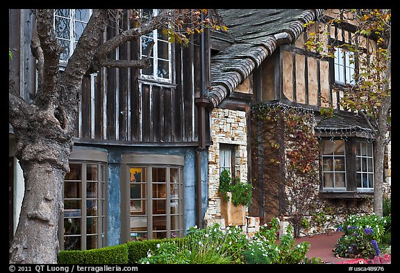 Old wooden houses used as art galleries. Carmel-by-the-Sea, California, USA (color)