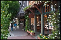 Sidewalk and stores on Ocean Avenue. Carmel-by-the-Sea, California, USA (color)
