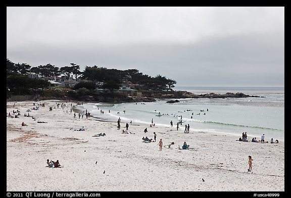 Carmel Beach with foggy skies. Carmel-by-the-Sea, California, USA (color)