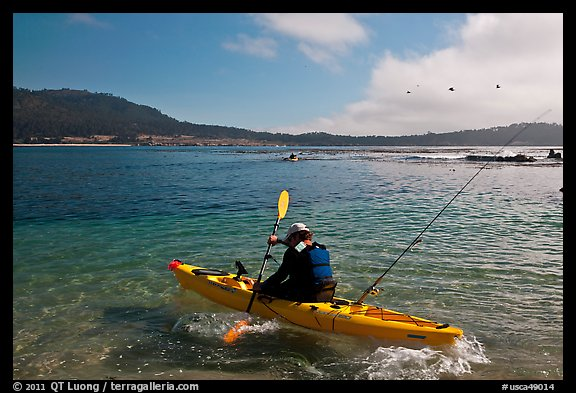 Sea kayaking into Carmel Bay. Carmel-by-the-Sea, California, USA (color)