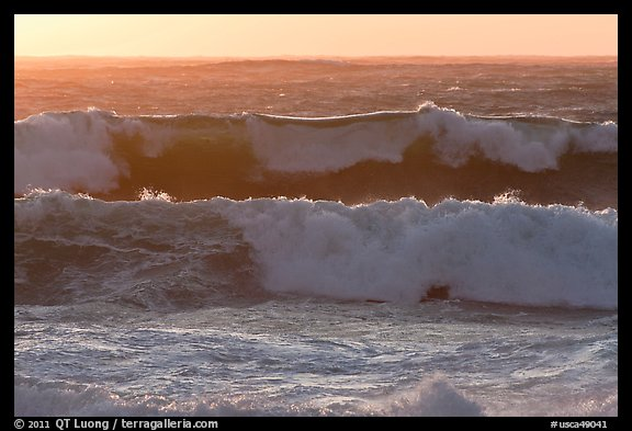 Big waves at sunset. Carmel-by-the-Sea, California, USA (color)