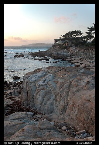 Oceanfront house sitting on bluff. Carmel-by-the-Sea, California, USA (color)