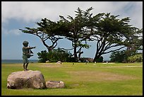 Sculpture, lawn, and cypress, Lovers Point Park. Pacific Grove, California, USA