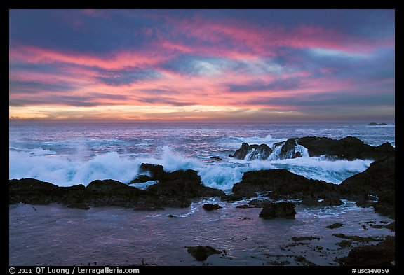 Wave crashing on rock at sunset. Point Lobos State Preserve, California, USA (color)