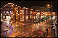 Monterey Canning company building and streets at night. Monterey, California, USA ( color)
