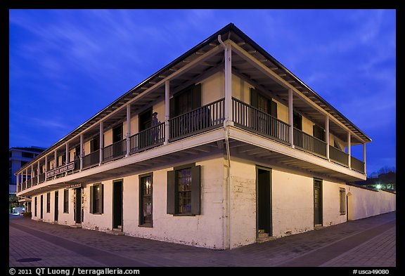 Pacific House at night. Monterey, California, USA