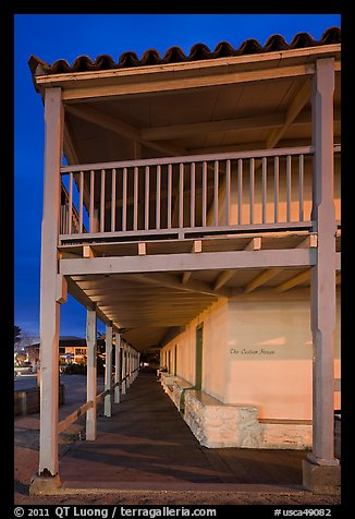 Custom House side at night. Monterey, California, USA (color)