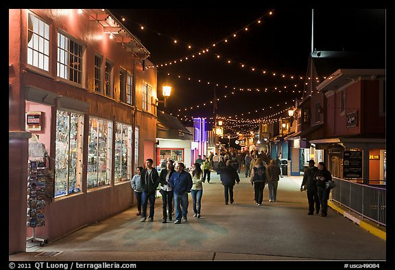 On the Fishermans Wharf at night. Monterey, California, USA (color)