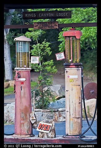 America oldest double gravity gas pumps, Kings Canyon Lodge. California, USA (color)