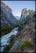 Steep gorge, South Fork of the Kings River, dusk, Giant Sequoia National Monument near Kings Canyon National Park. California, USA