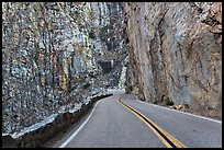Road through vertical canyon walls, Giant Sequoia National Monument near Kings Canyon National Park. California, USA (color)