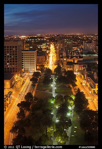 Cesar Chavez park from above at night. San Jose, California, USA (color)