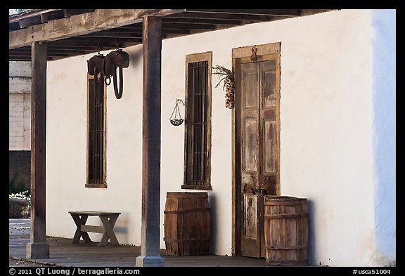 Facade of Luis Maria Peralta Adobe, oldest building in San Jose. San Jose, California, USA