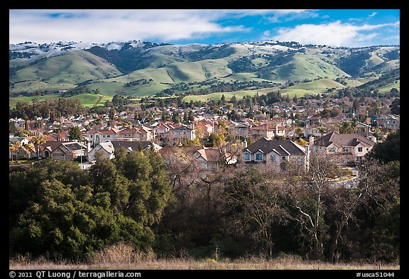 Evergreen Valley and hills in winter. San Jose, California, USA (color)