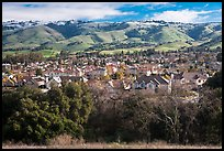Evergreen Valley and hills in winter. San Jose, California, USA