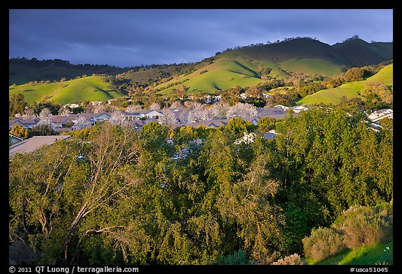 Villages community and hills in spring. San Jose, California, USA (color)