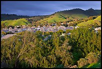 Villages community and hills in spring. San Jose, California, USA ( color)