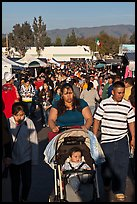 Crowded alley, San Jose Flee Market. San Jose, California, USA (color)