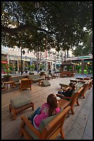 Sitting area with comfy chairs. Santana Row, San Jose, California, USA (color)