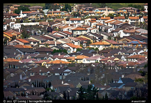 Rooftops of single family homes, Evergreen. San Jose, California, USA (color)