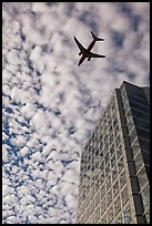 Adobe Tower and commercial aircraft. San Jose, California, USA ( color)