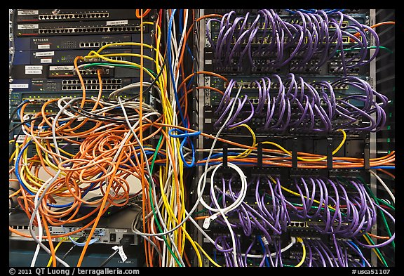 Unorganized server wires. Menlo Park,  California, USA (color)
