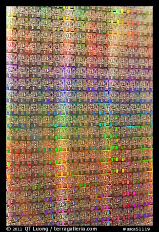 Silicon wafers, Intel Museum. Santa Clara,  California, USA (color)