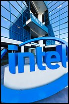 Intel sign and Robert Noyce building. Santa Clara,  California, USA (color)