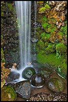 Waterfall and round rocks, Hakone gardens. Saragota,  California, USA