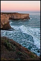 Wave and sea  cliffs at sunset, Wilder Ranch State Park. California, USA ( color)