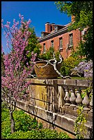 Balustrade, blossoms, and house, Filoli estate. Woodside,  California, USA ( color)