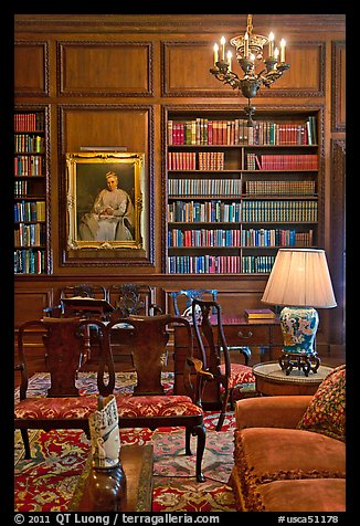 Antique furniture and bookshelves, Filoli estate. Woodside,  California, USA