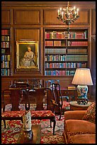 Antique furniture and bookshelves, Filoli estate. Woodside,  California, USA (color)