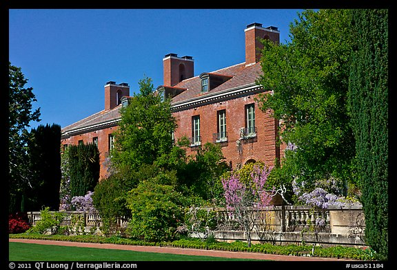 Garden and house, Filoli estate. Woodside,  California, USA (color)