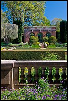 Balustrade, sunken garden, and garden house, Filoli estate. Woodside,  California, USA (color)